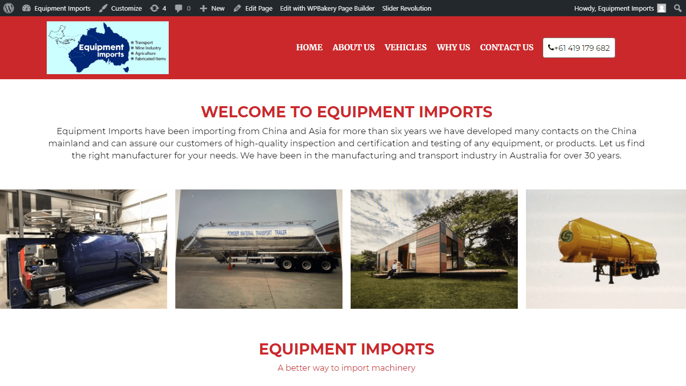 Equipment import portfolio